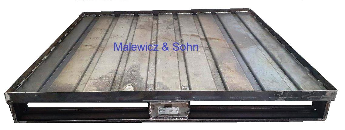 Stahlflachpalette Boden aus Sickenblech rohe Oberfläche
