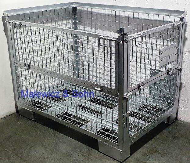 Gitterbehälter Waschboxen mit 2 Klappen über Eck