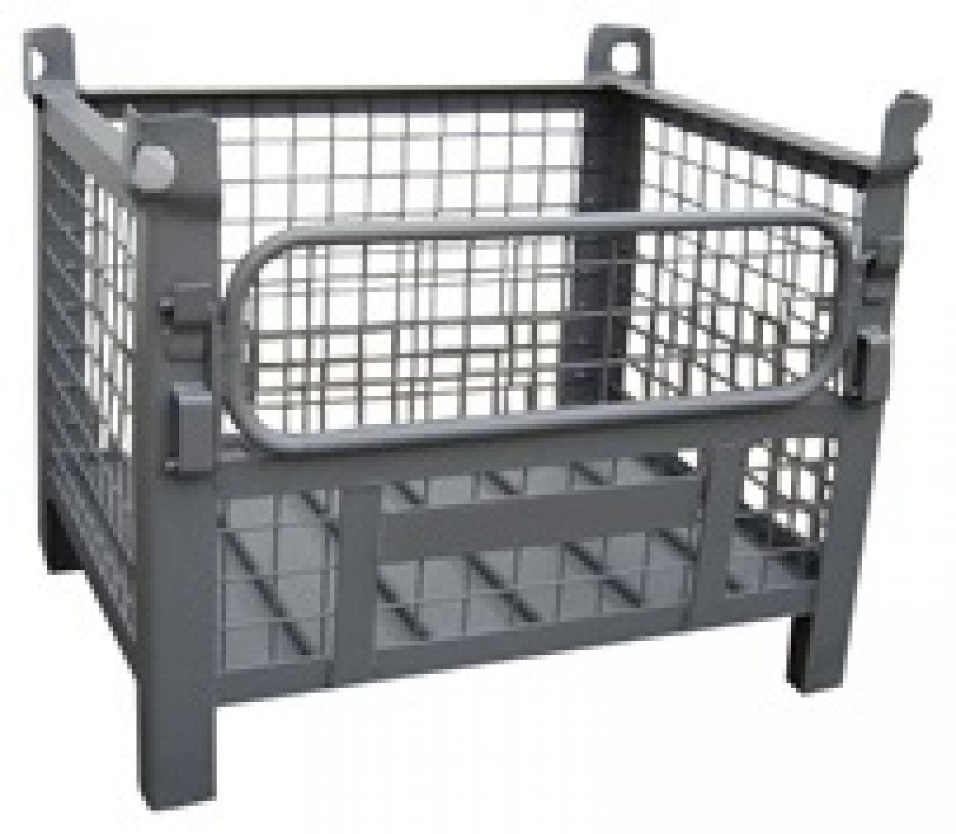 Gitterbehälter mit halber Klappe längsseits