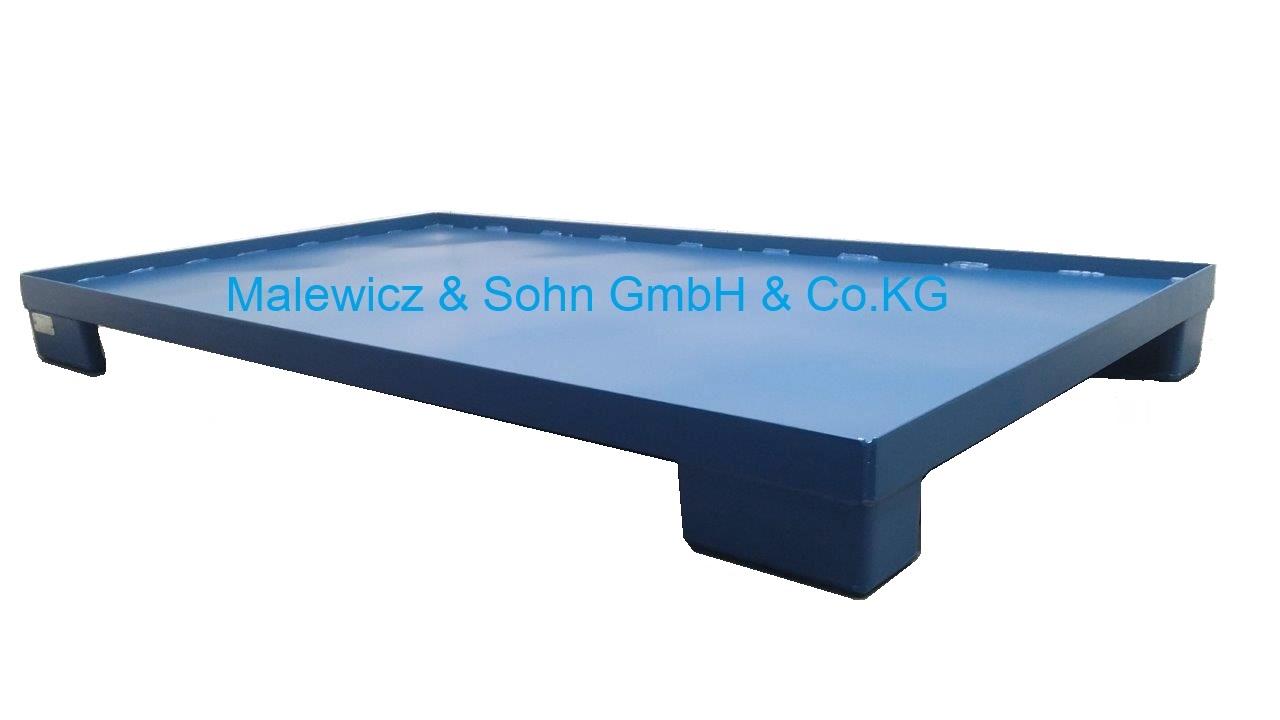 Stahlpalette mit Poolfuß Glattblechboden 2000 kg
