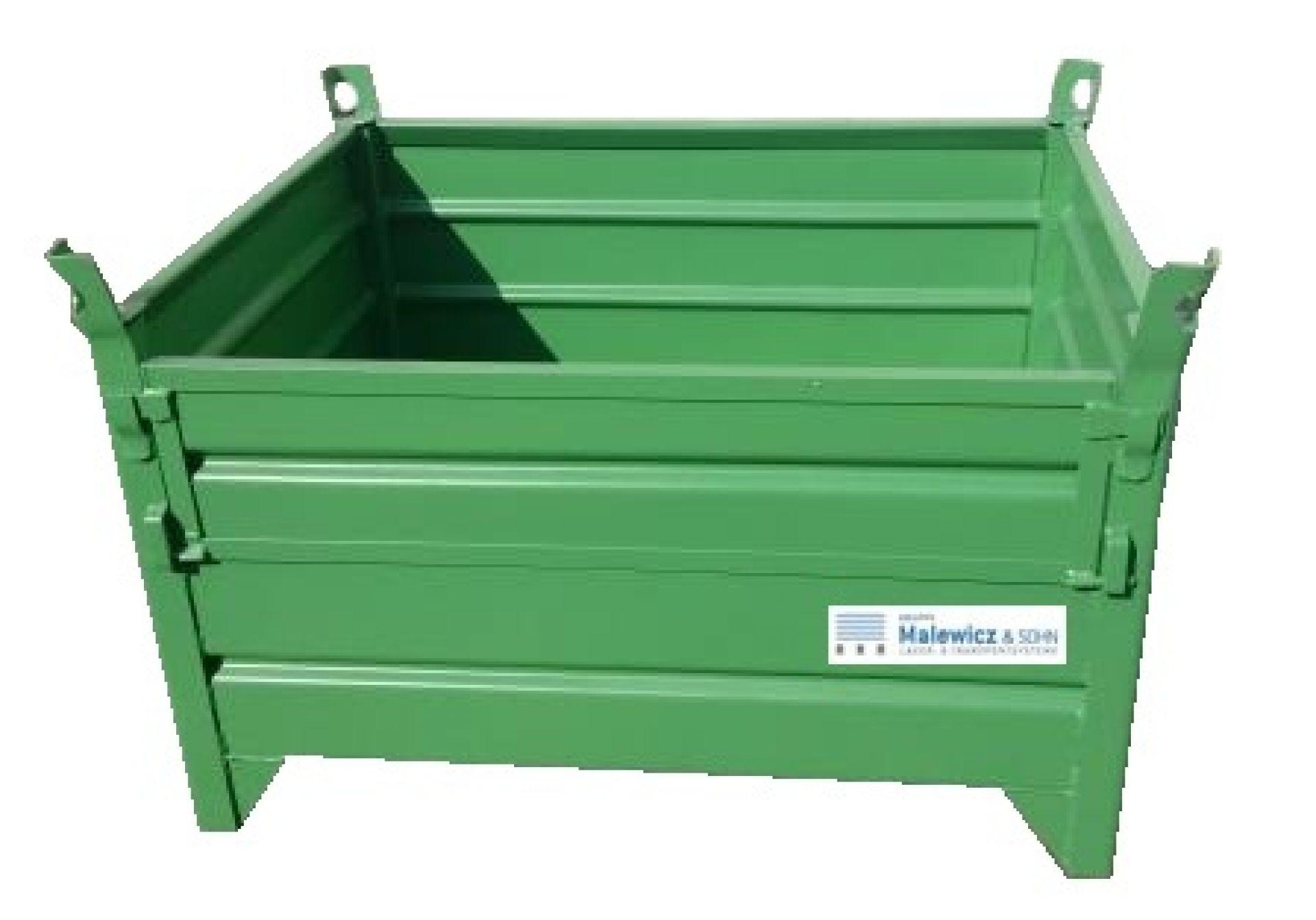 Behälter mit halber Klappe grün lackiert