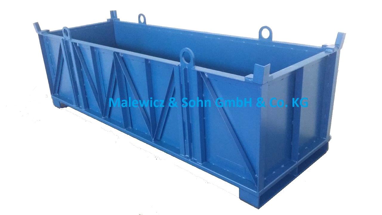 Schwerlastbehälter 3 t kranbar aus Glattblech