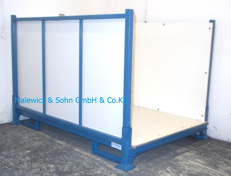 blauer Textilrollenbehälter mit Holzauskleidung