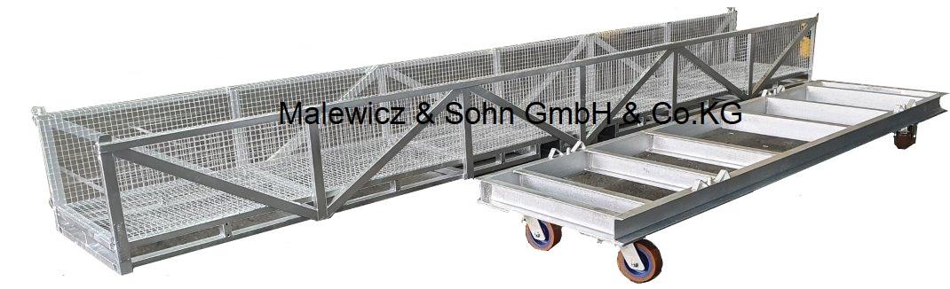 Langgutgestell mit Rollwagen