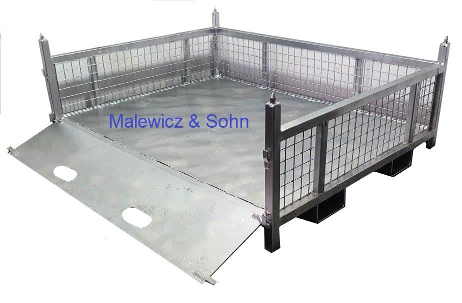 Gitterbehälter mit Rampe an Langseite