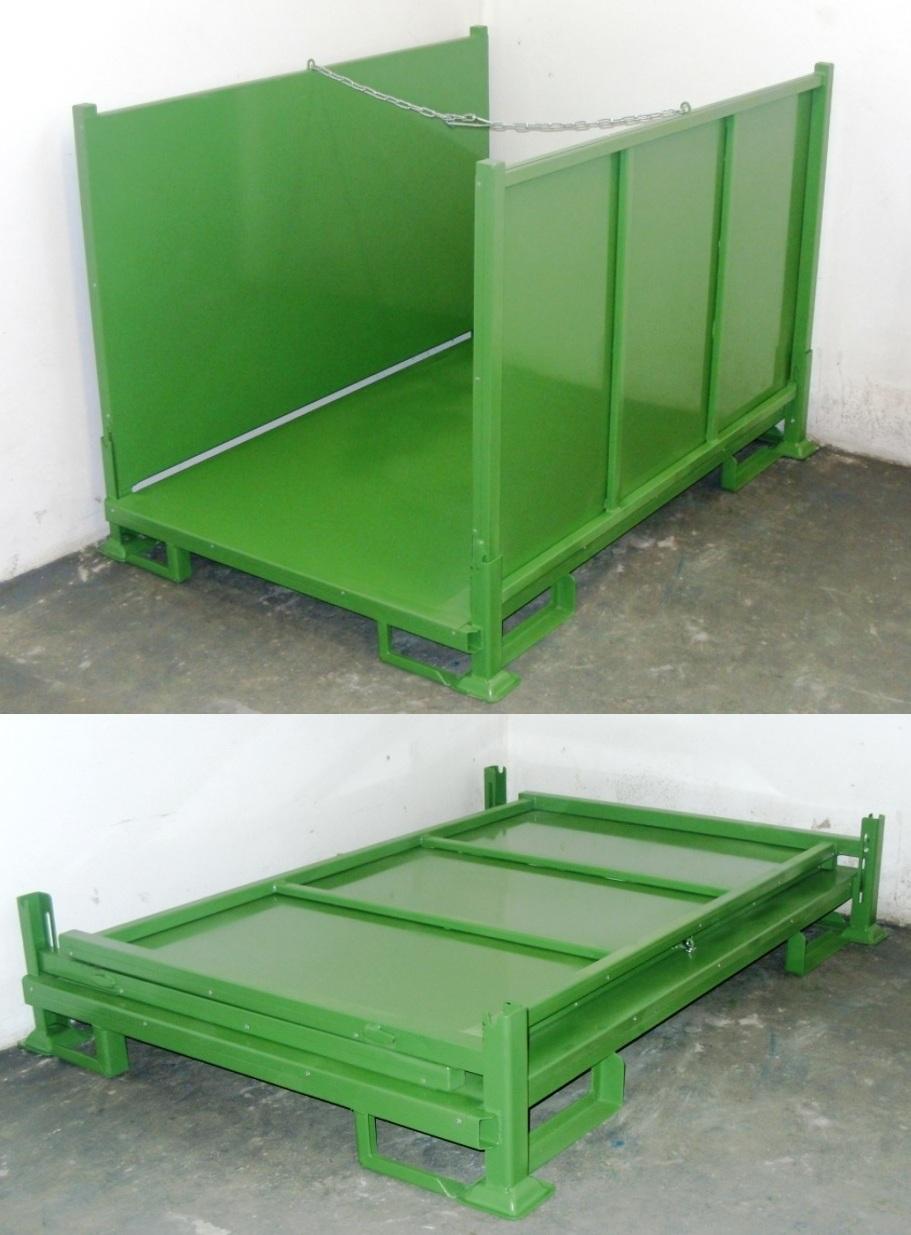 grüner Textilrollenbehälter mit Blechauskleidung